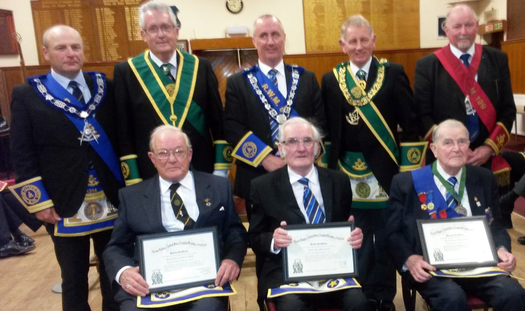 (back row) Allan Hutton, Bill Perry, Andrew McCulloch, Tom Davidson and Alexander Cowe (recipients in front row) Lawrence Peterson, John McCully and Tom Galbraith